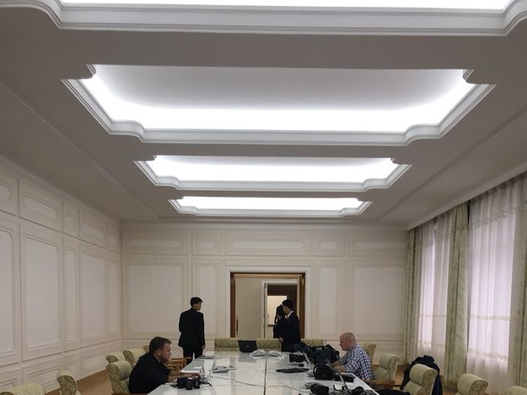 The reporters have been given a press room in a Wonsan hotel they are staying in. Pic: Tom Cheshire