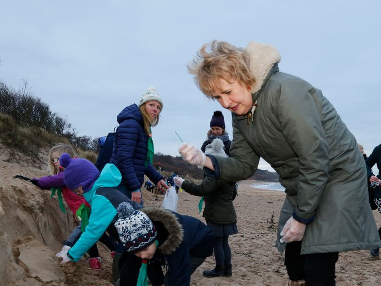 Environment Secretary Roseanna Cunningham on a visit to meet the Gullane Beaver Scout Group on Gullane Beach in January this year.