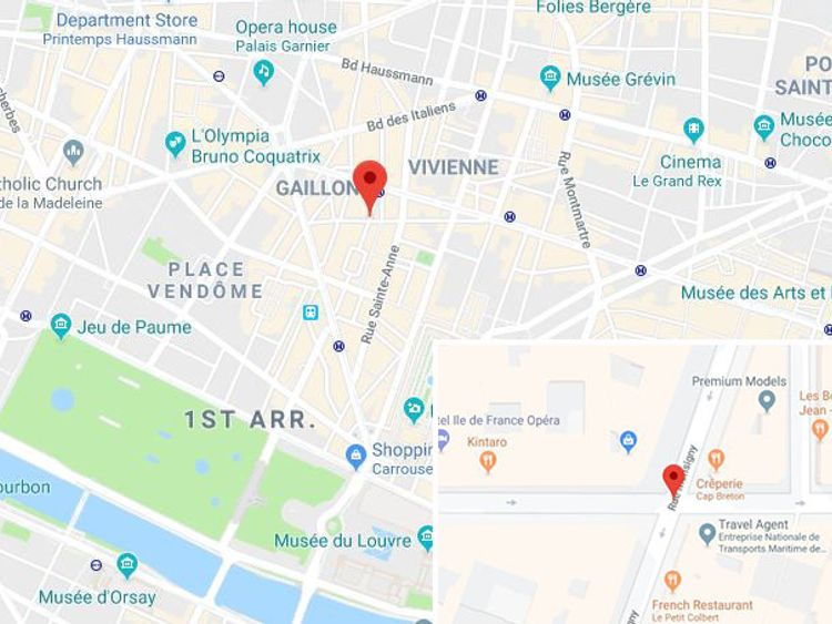 The attack happened on Rue Monsigny in the 2nd arrondissement. Pic: Google Maps