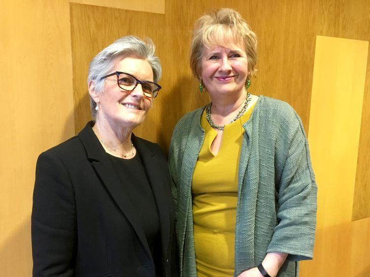 Dame Sue Bruce (L) and Roseanna Cunningham MSP are talking on single use plastics.