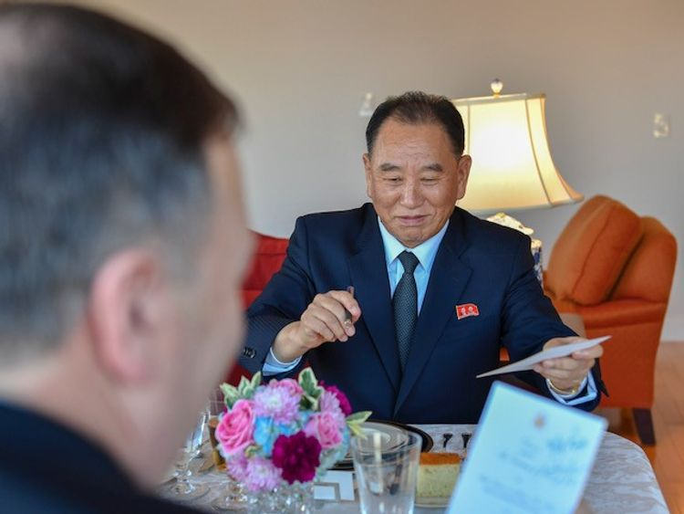 """Senior North Korean official Kim Yong Chol and US Secretary of State Mike Pompeo have had a """"good"""" meeting in New York."""