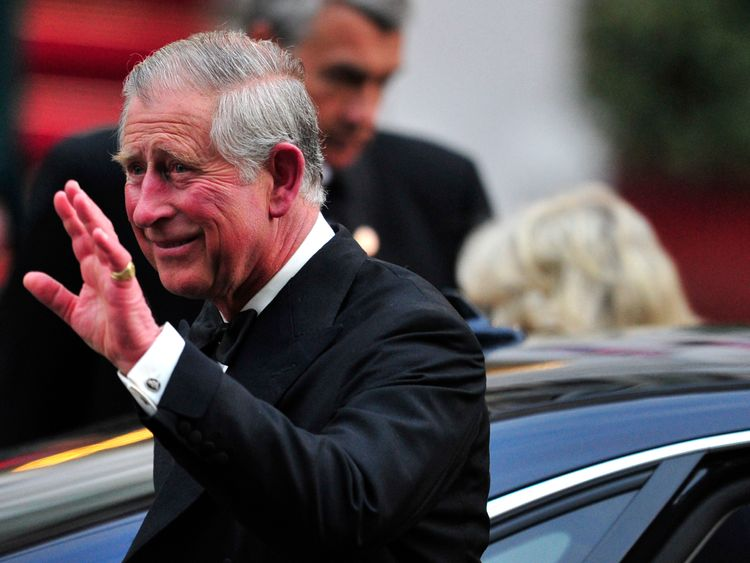 Prince Charles at a gala dinner hosted by Queen Elizabeth in London on the eve of Prince William and Kate Middleton's wedding