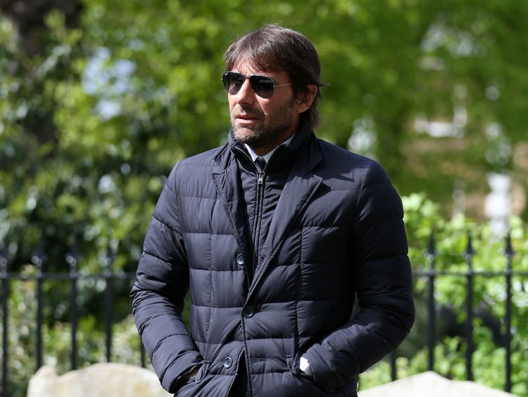 Current Chelsea manager Antonio Conte outside the church