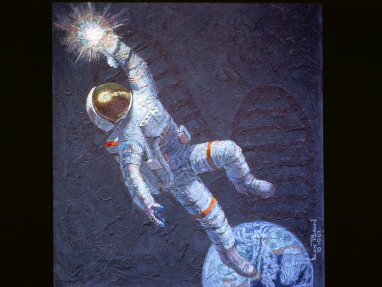 "This mural, ""Reaching for the Stars,"" is one of the many works Astronaut Alan Bean has been commissioned to paint after he made a successful transition from spaceman to a full-time professional artist in 1981"