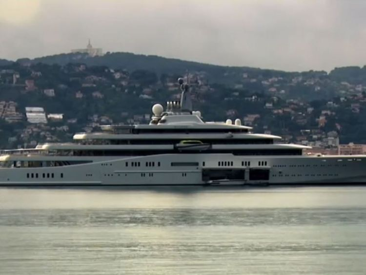 Roman Abramovich's yacht sits off the coast of Antibe in France