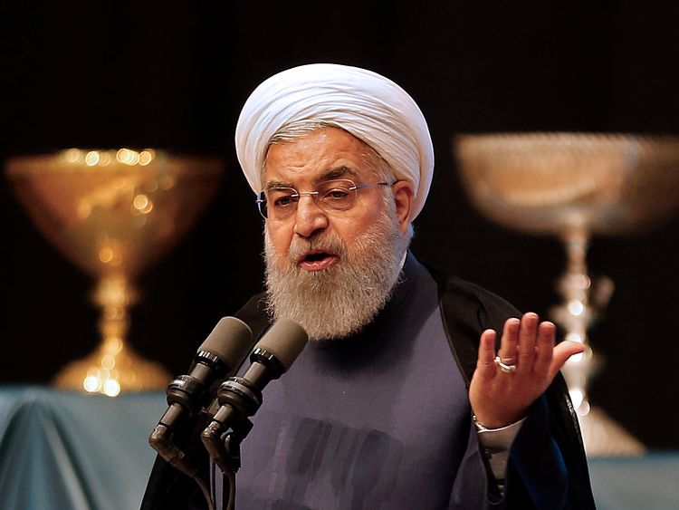 Iran's president Hassan Rouhani gives a speech in the city of Tabriz in the northwestern East-Azerbaijan province on April 25, 2018, during an event commemorating the city as the 2018 capital of Islamic tourism. (Photo by ATTA KENARE / AFP) (Photo credit should read ATTA KENARE/AFP/Getty Images)