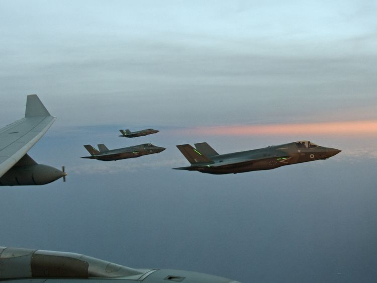 UK F-35B Lightning jets during a refuelling exercise with an RAF Voyager over the skies of Charleston on the East coast of the United States of America.