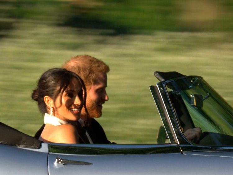 The couple leave for their reception