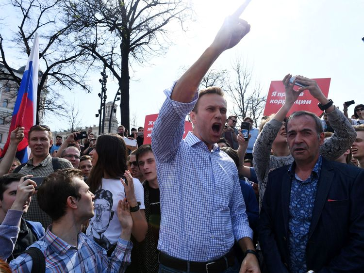Russian opposition leader arrested as thousands protest in Moscow