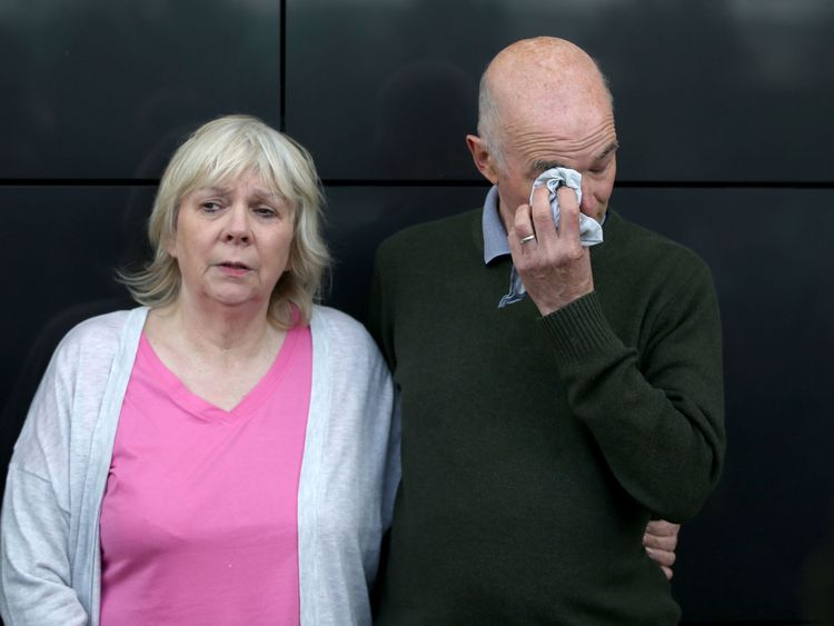 Marion and Ron Hutchison, the parents of Scott Hutchison who had appealed for information when he went missing