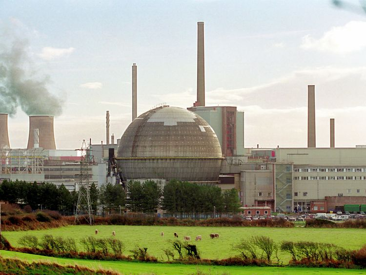 The Sellafield nuclear reprocessing facility in Cumbria
