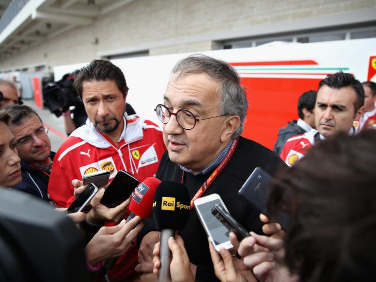 Sergio Marchionne, CEO of FIAT and Chairman of Ferrari talks to the media in the Paddock before the United States Formula One Grand Prix at Circuit of The Americas on October 22, 2017 in Austin, Texas
