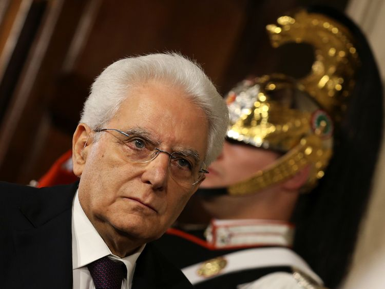 Italian President Sergio Mattarella arrives to meet media after a meeting with Italy's Prime Minister-designate...