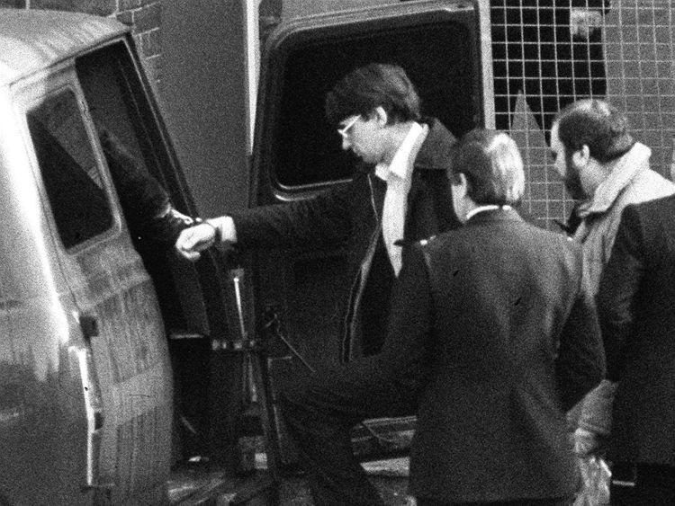 Dennis Nilsen (L) leaving Highgate Magistrates Court after he was charged with the murder of Stephen Sinclair.