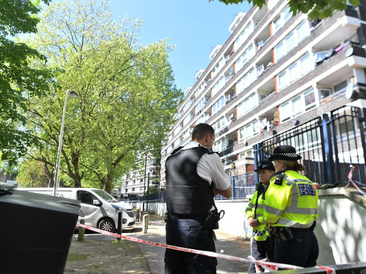 Police at the scene in Southwark where Rhyhiem was found with a fatal gunshot wound