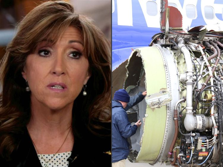 Tammie Jo Shults safely landed the plane with Darren Ellisor. Pic: ABC/Reuters