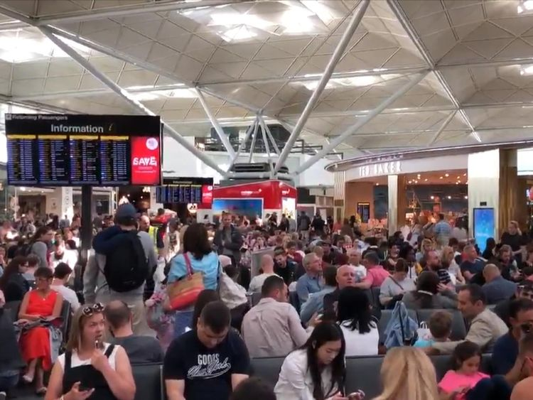 Hundreds are waiting for information about flights. Pic: @GiantDwarf3