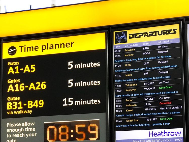 The departures board in Heathrow