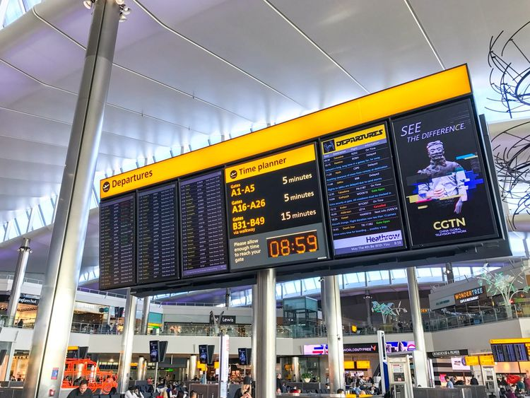 The Departures board at Heathrow