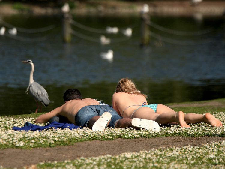 Topping up the tan in Regent's Park, London