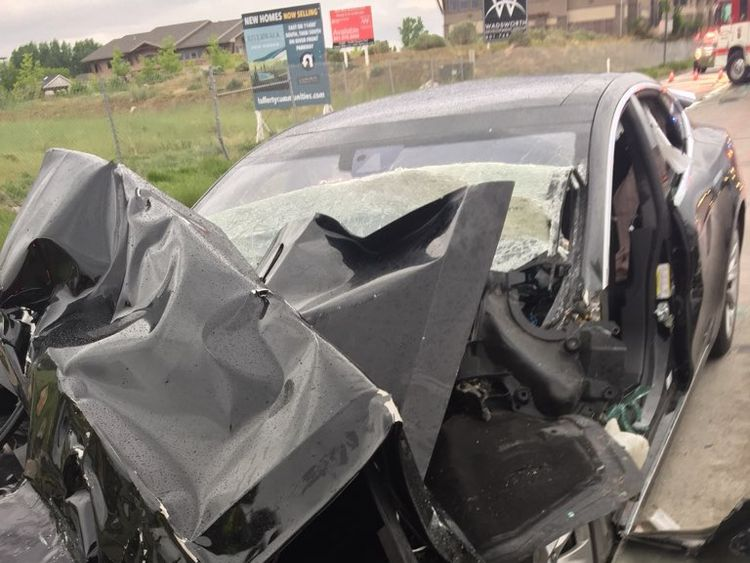 Police are finding out if the car was on autopilot. Pic: South Jordan Police Department