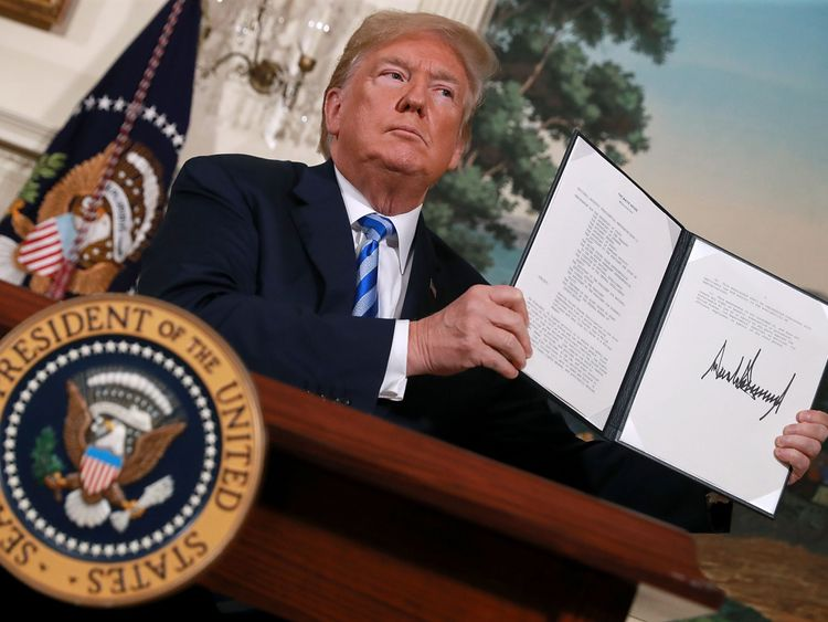 U.S. President Donald Trump announces his decision to withdraw the United States from the 2015 Iran nuclear deal in the Diplomatic Room at the White House May 8, 2018 in Washington, DC. After two and a half years of negotiations, Iran agreed in 2015 to end its nuclear program in exchange for Western countries, including the United States, lifting decades of economic sanctions. Since then international inspectors have not found any violations of the terms by Iran.