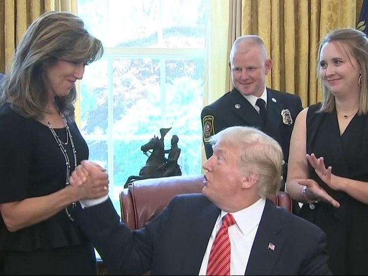 President Trump congratulates Southwest Airlines Captain Tammie Jo Schults for landing a plane in dangerous conditions