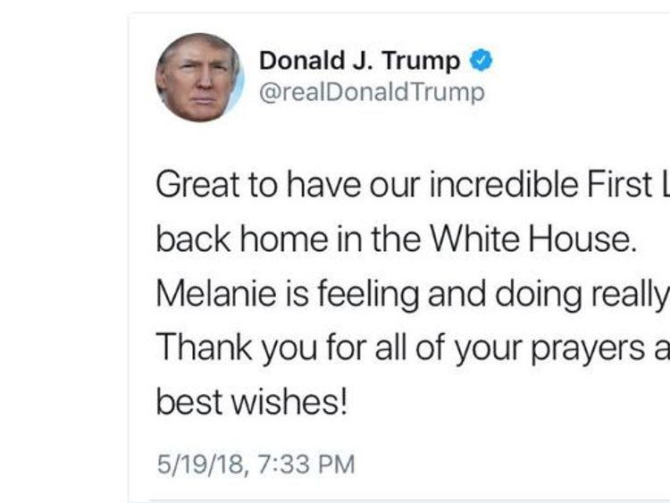The Donald Trump tweet in which he calls his wife 'Melanie'