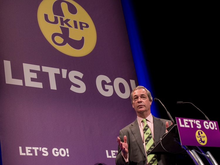 LLANDUDNO, WALES - FEBRUARY 27: Nigel Farage delivers his speech during the UKIP Sping Conference on February 27, 2016 in Llandudno, Wales. UKIP's annual national Spring Conference is being held for the first time in Wales during the Welsh assembly election campaign. The elections for the National Assembly will take place on May 5 with polls predicting UKIP could win nine seats in the Senedd. (Photo by Richard Stonehouse/Getty Images)