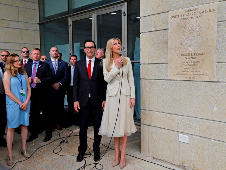 Ivanka Trump at the opening of the US embassy in Jerusalem