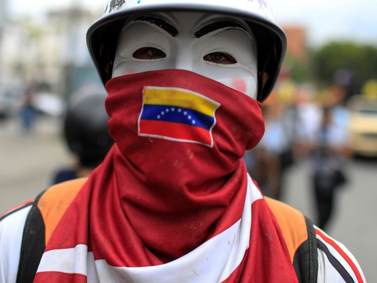 An anti-government protester in Caracas