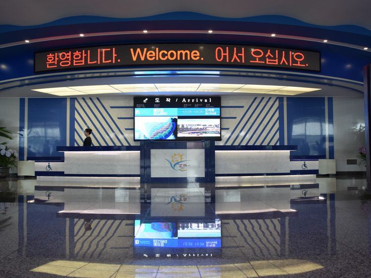 The group of journalists were the only arrivals at Kalma Airport in Wonsan. Pic: Michael Greenfield