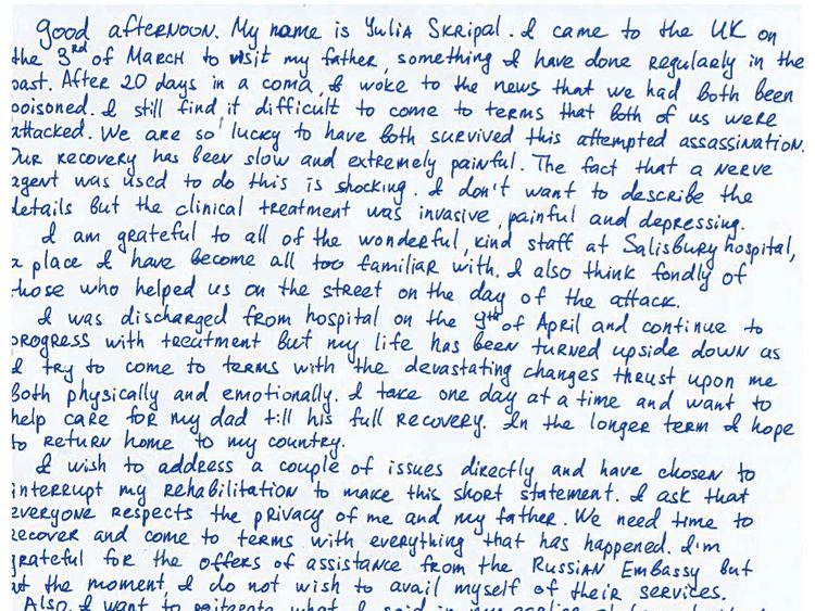 Ms Skripal's handwritten statement