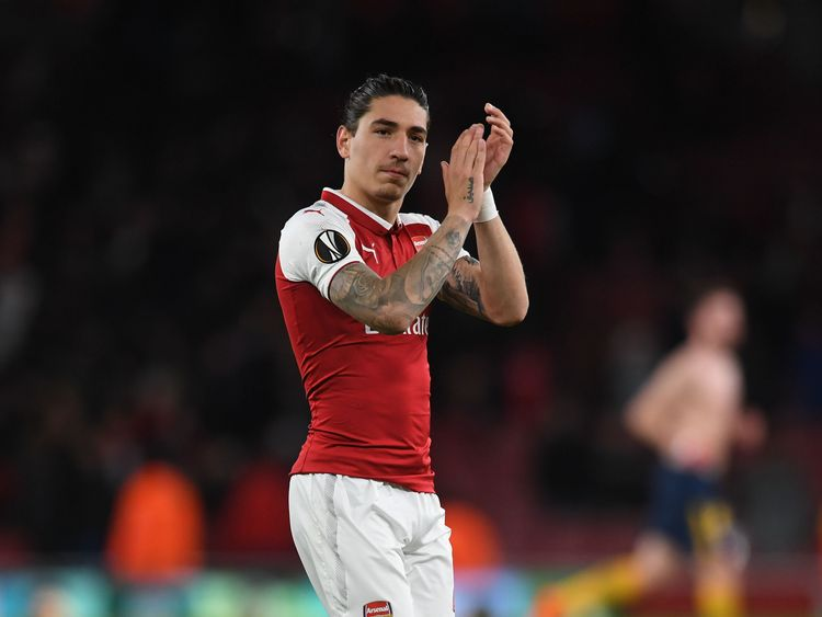 Hector Bellerin during the UEFA Europa League Semi Final leg one match between Arsenal FC and Atletico Madrid at Emirates Stadium on April 26, 2018