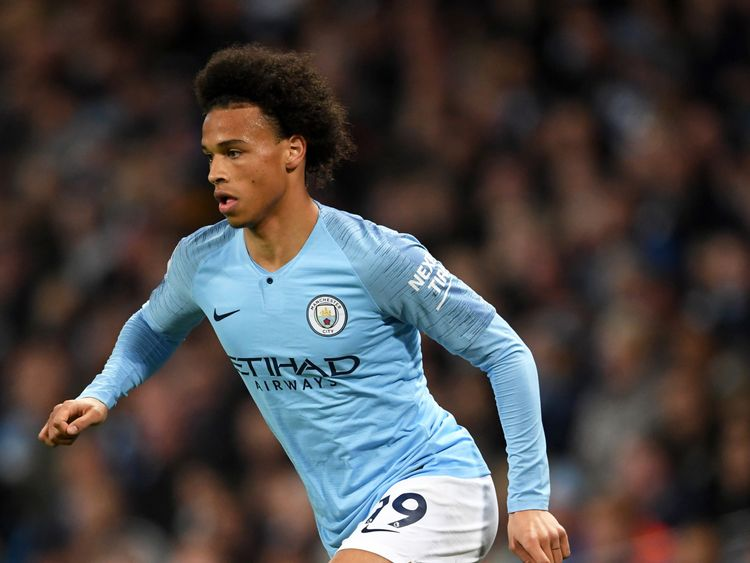 Leroy Sane in action during the Premier League against Brighton and Hove Albion