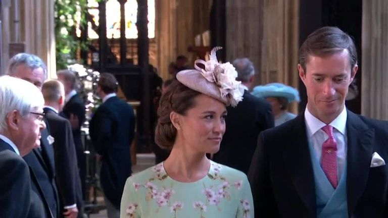 Pippa and the Middleton's arrive at the chapel for Harry and Meghan's wedding.