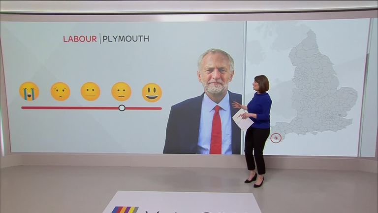 The Sky News emoji monitor gauges the leaders' feelings over the local election results.