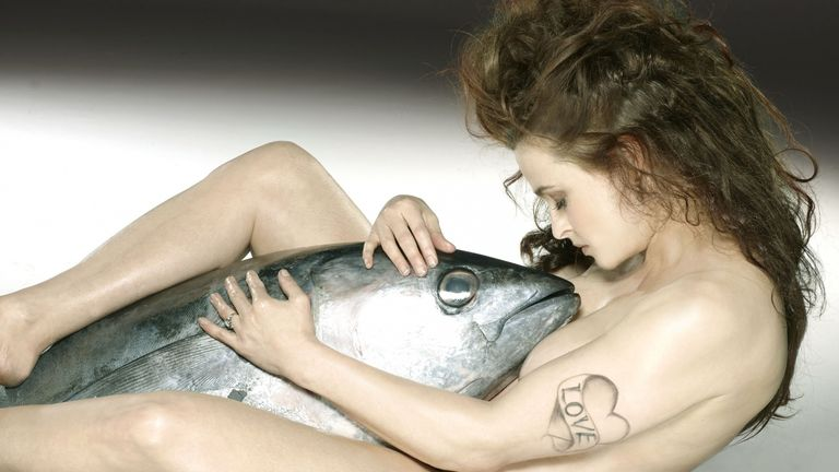 Helena Bonham Carter embracing a big eye tuna. Pic: Fishlove/John Swannell