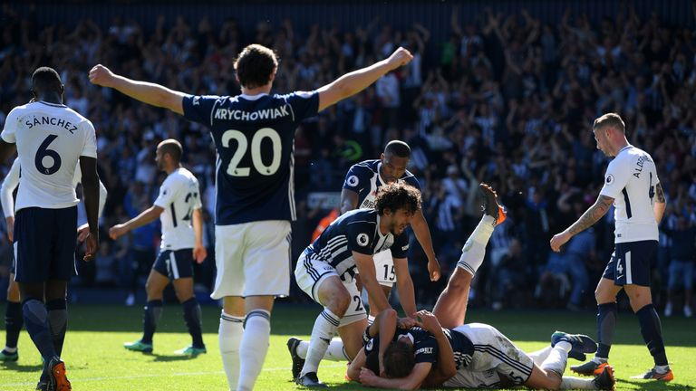 West Brom celebrate after Jake Livermore's late winner