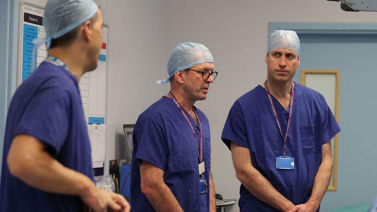 Prince William during a visit to The Royal Marsden Hospital in London earlier this year