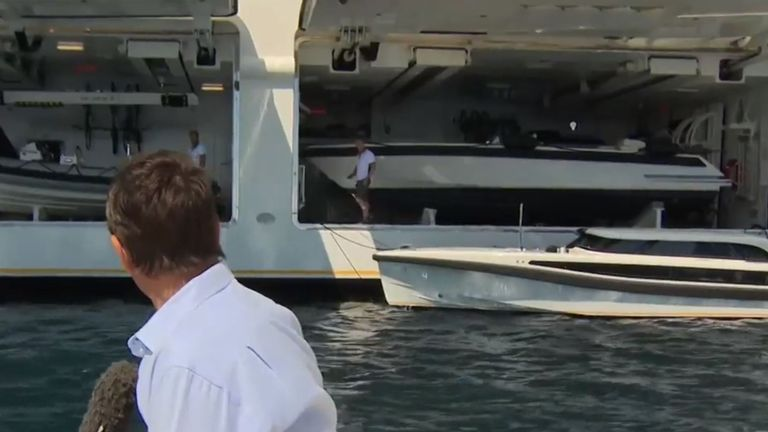 Sky News' Mark Stone pulled up outside Mr Ambramovich's yacht in a small boat to ask his crew some questions