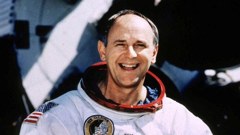 Retired Astronaut Alan Bean, 66, poses for a portrait in his spacesuit at the Johnson Space Center in Houston, Texas, U.S