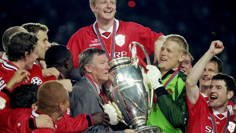 26 May 1999: Manchester United manager Alex Ferguson and keeper Peter Schmeichel with the trophy after a 2-1 victory over Bayern Munich in the UEFA Champions League Final at the Nou Camp in Barcelona, Spain