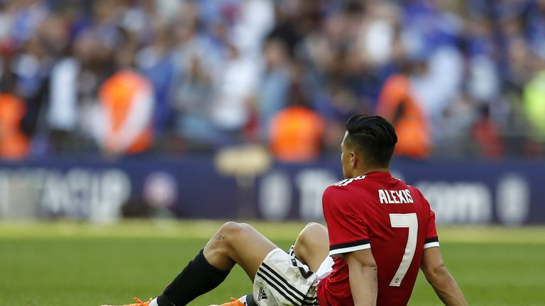 Manchester United striker Alexis Sanchez pictured after his side lost 1-0 in the FA Cup final to end the season trophy-less