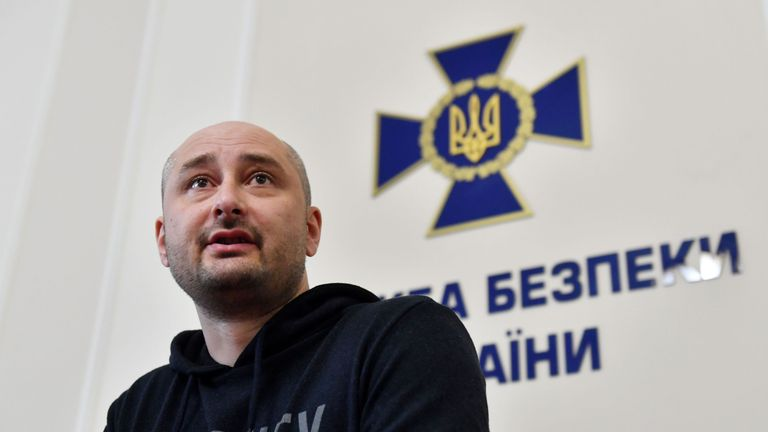 Anti-Kremlin Russian journalist Arkady Babchenko speaks during a press conference in Kiev