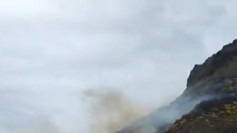 Fire at Arthur's Seat in Edinburgh