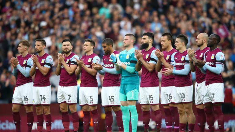 during the Sky Bet Championship Play Off Semi Final second leg match between Aston Villa and Middlesbrough at Villa Park on May 15, 2018 in Birmingham, England.