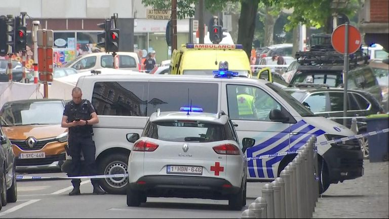 Police at the scene of the shooting in Liege