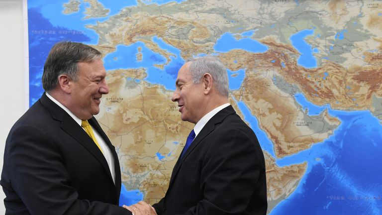 US Secretary of State Mike Pompeo meeting Benjamin Netanyahu in Tel Aviv on Sunday