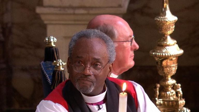 Bishop Michael Curry delivers a lively and passionate address at royal wedding